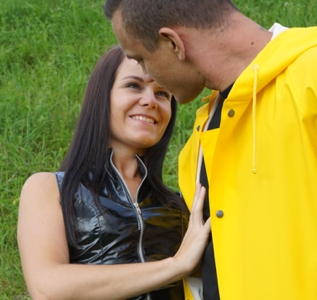 Loving couple in black vinyl and yellow Rukka (40 pics)